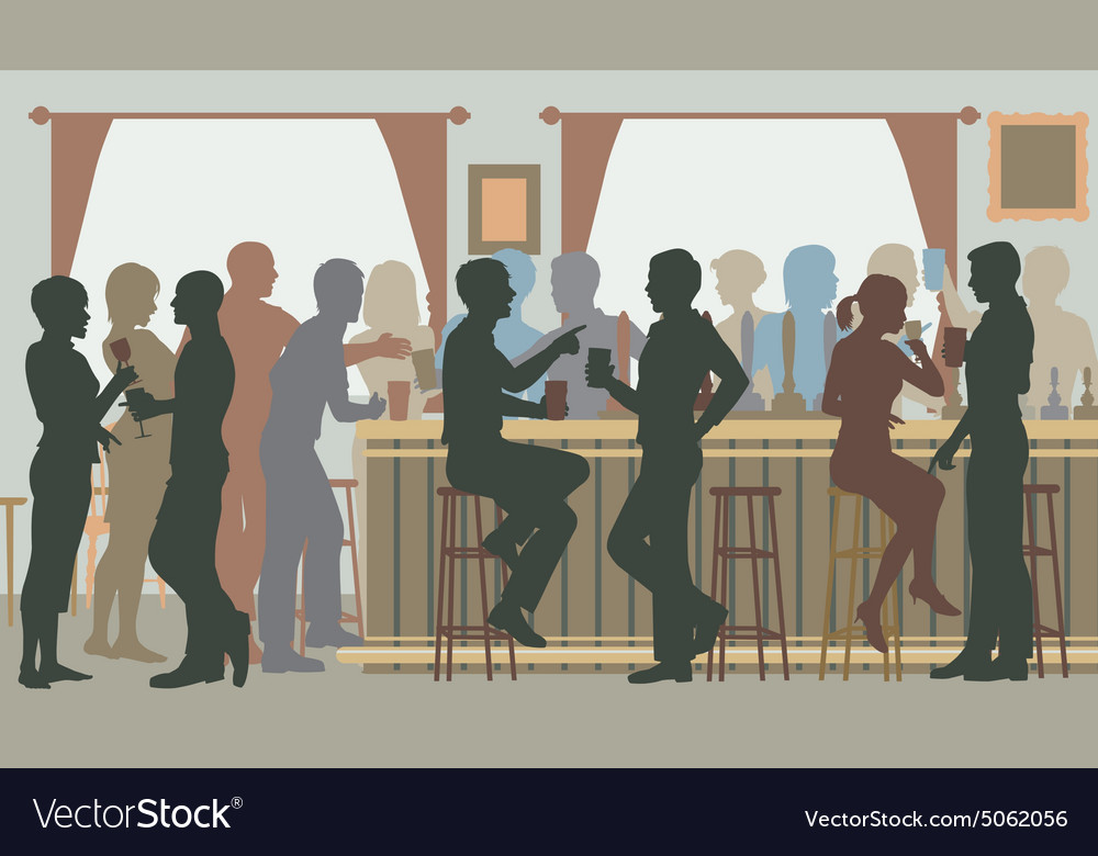 Busy pub bar vector