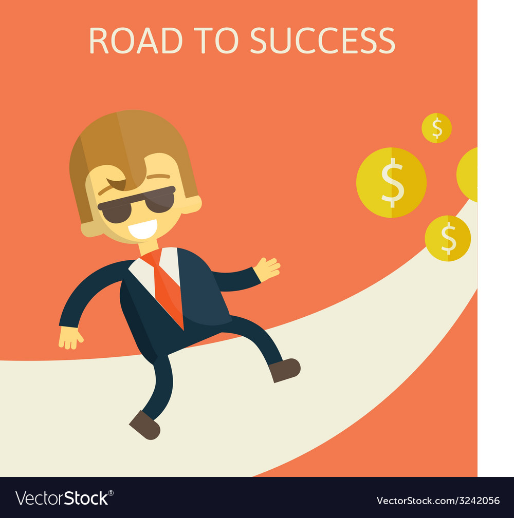 Cheerful businesswoman walking along the road vector | Price: 1 Credit (USD $1)