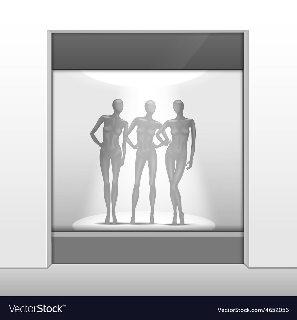 Clothing shop boutique store front with mannequins vector | Price: 1 Credit (USD $1)