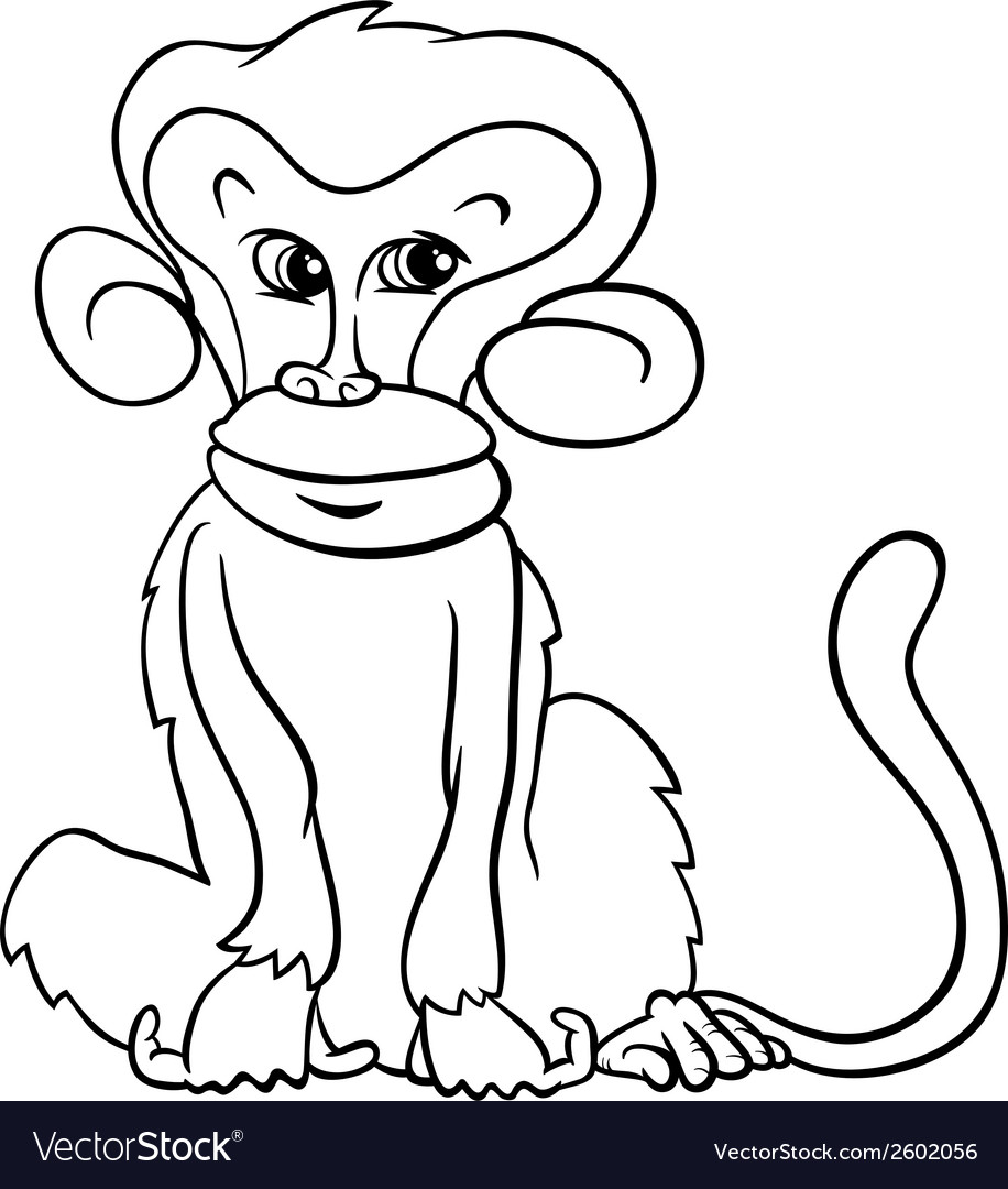 Cute monkey cartoon coloring page vector | Price: 1 Credit (USD $1)