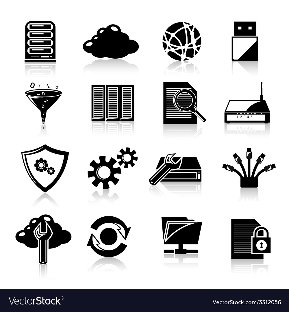 Database icons black vector | Price: 1 Credit (USD $1)