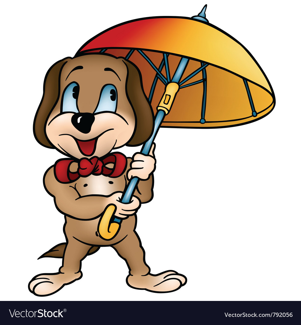 Dog with umbrella vector | Price: 1 Credit (USD $1)
