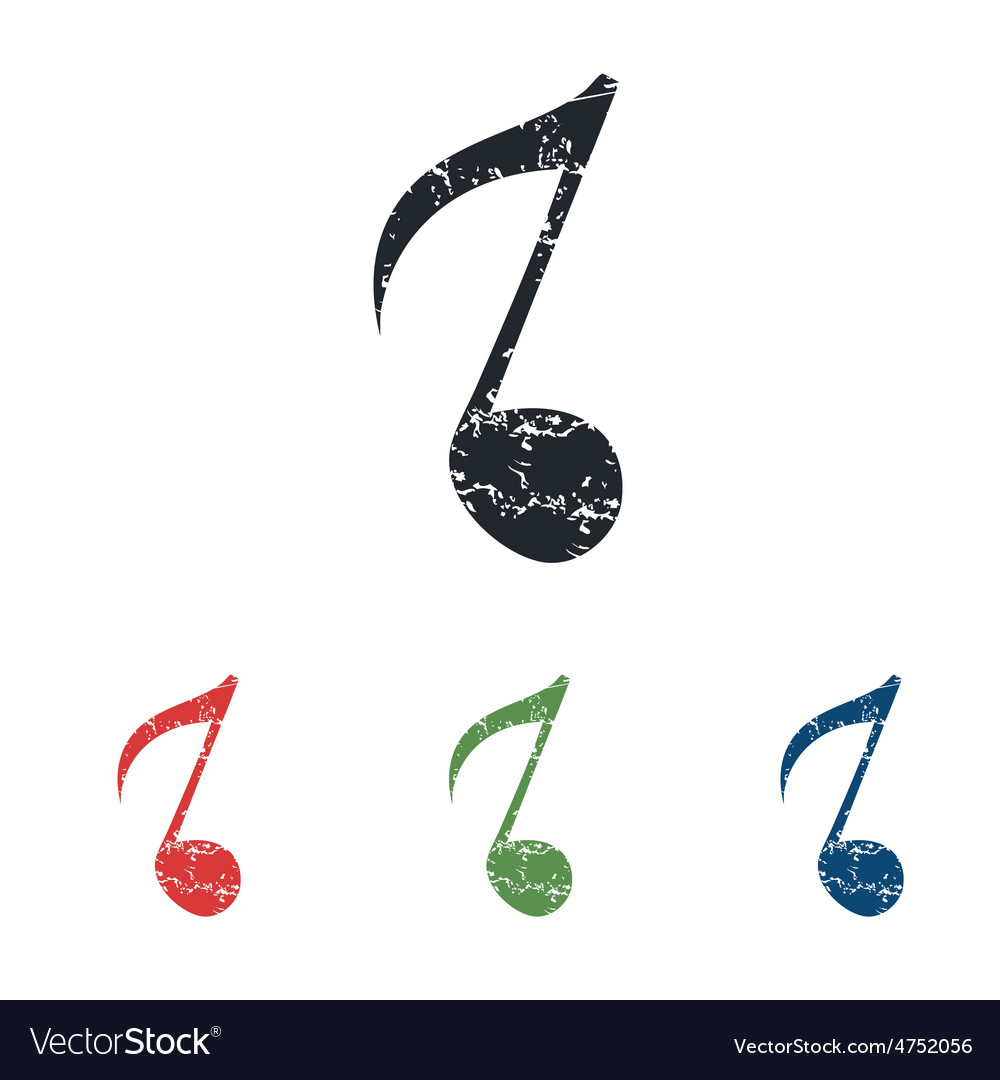 Eighth note grunge icon set vector | Price: 1 Credit (USD $1)