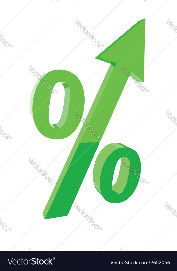 Green percentage symbol with an arrow up concept vector | Price: 1 Credit (USD $1)