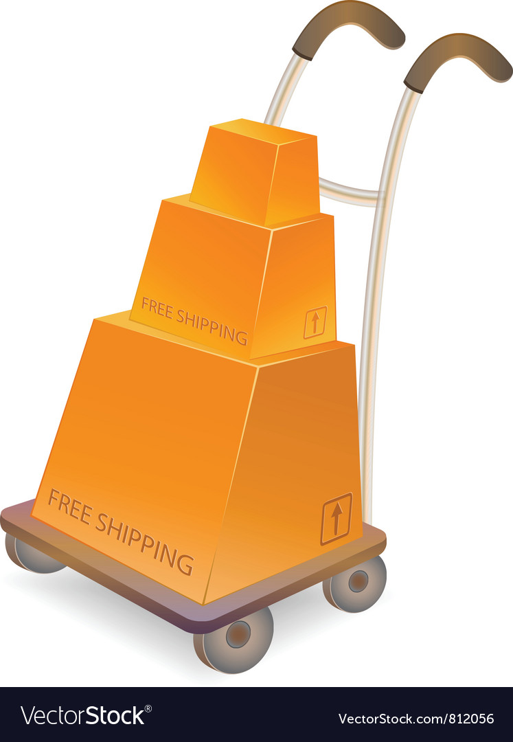 Hand truck with stack of carton packages vector | Price: 1 Credit (USD $1)