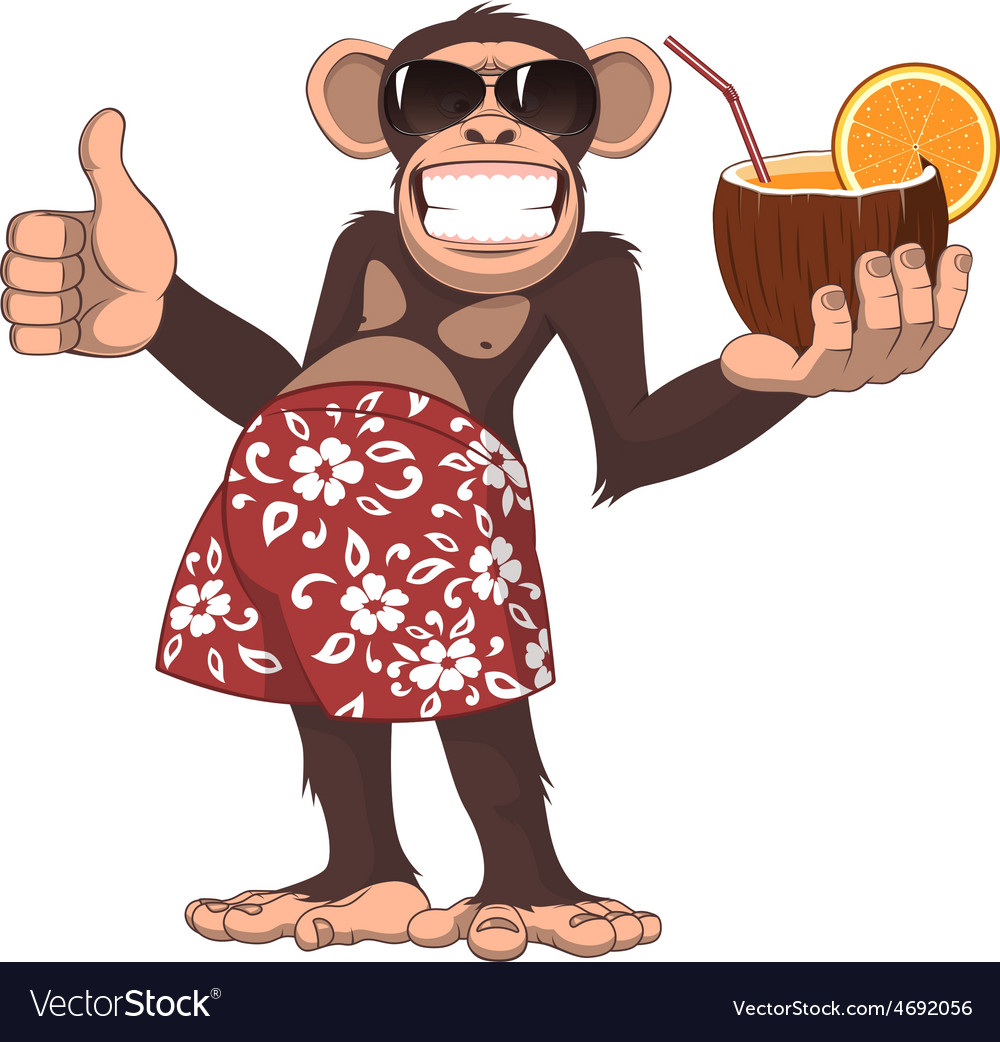 Monkey with a cocktail vector | Price: 1 Credit (USD $1)