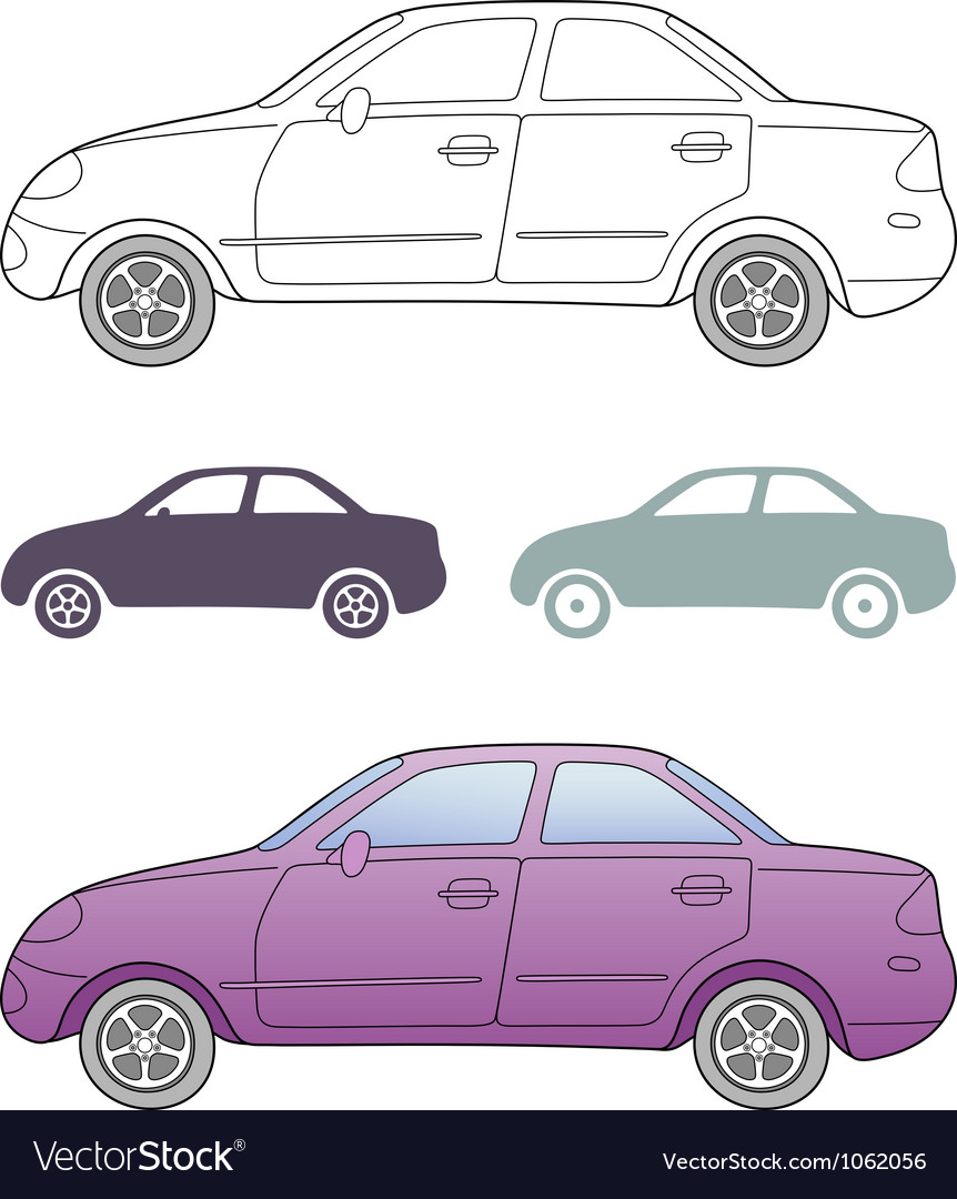 Passenger car solid outlined side view vector | Price: 1 Credit (USD $1)