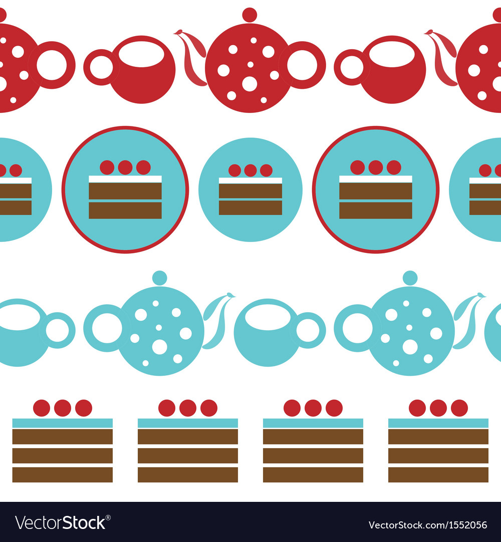Pattern with tea party and chocolate cakes vector | Price: 1 Credit (USD $1)