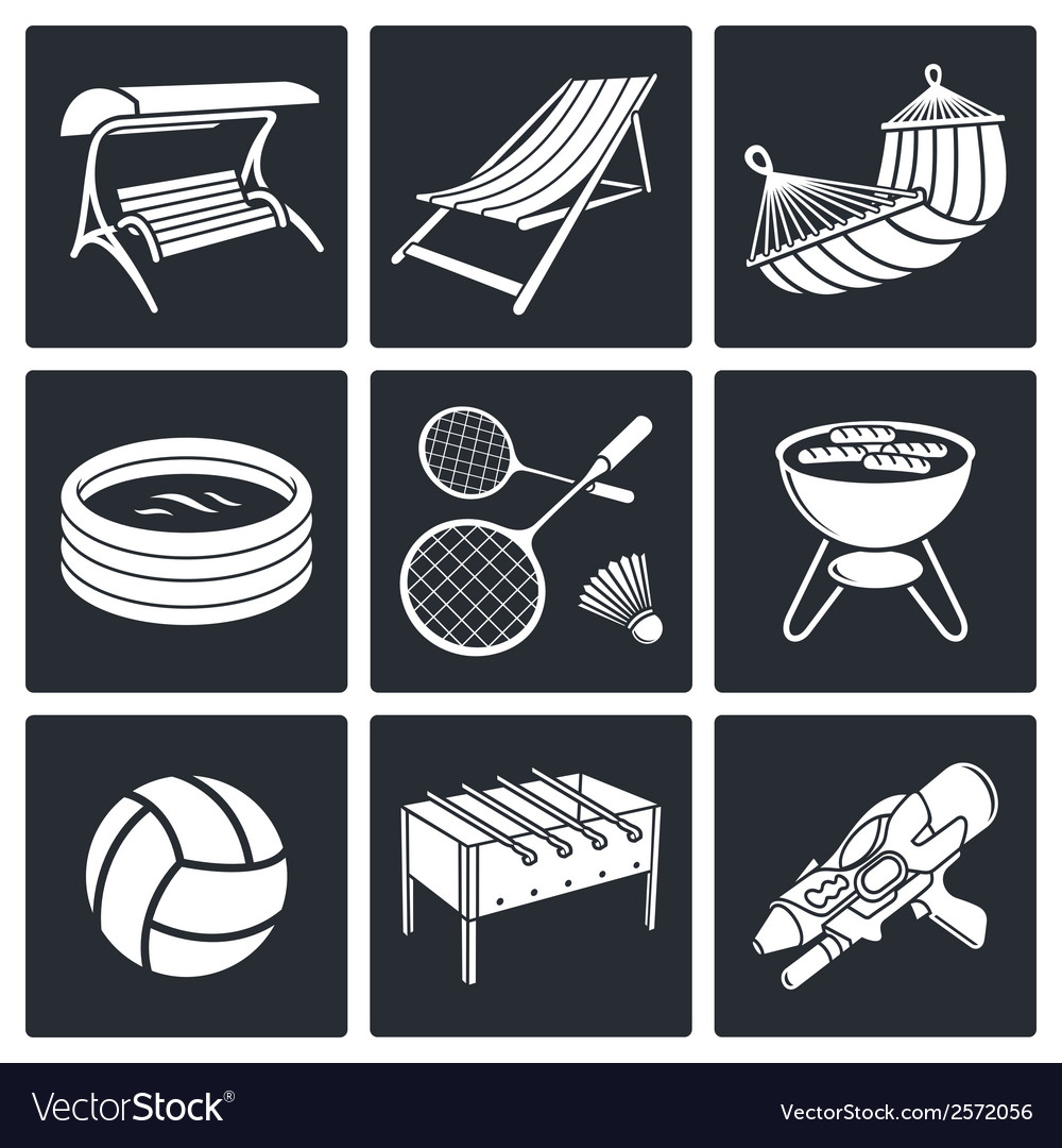 Recreation icon set vector | Price: 1 Credit (USD $1)