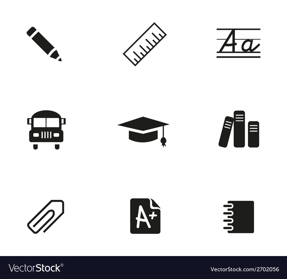 School icons set vector | Price: 1 Credit (USD $1)