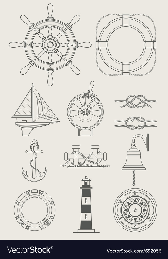 Sea ship set icon vector | Price: 1 Credit (USD $1)
