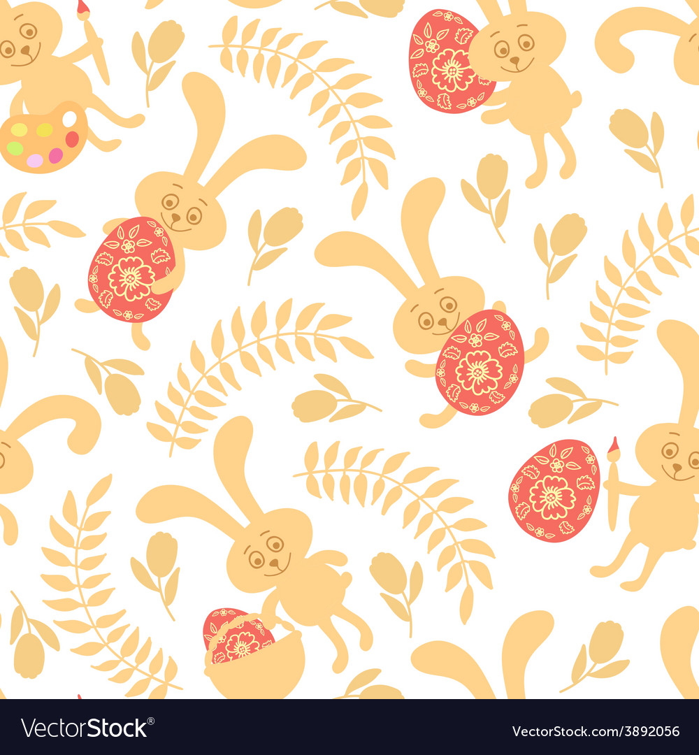 Seamless pattern of easter bunnies vector | Price: 1 Credit (USD $1)