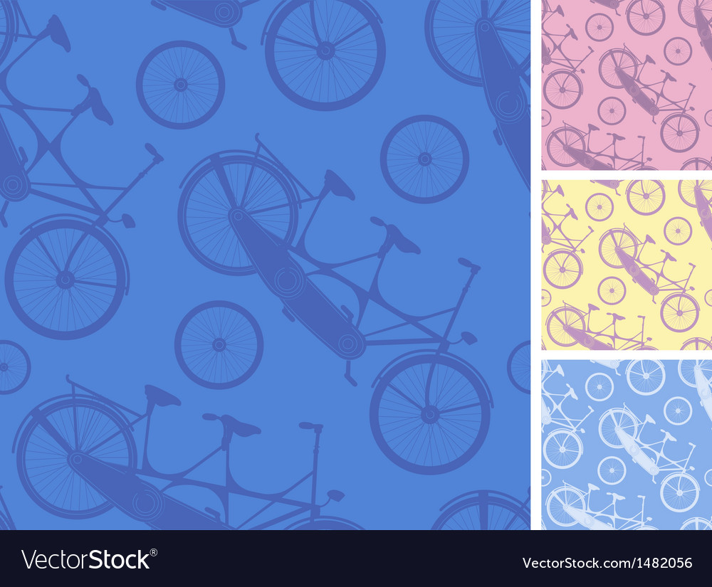 Set of frour tandem bicycles seamless patterns vector | Price: 1 Credit (USD $1)