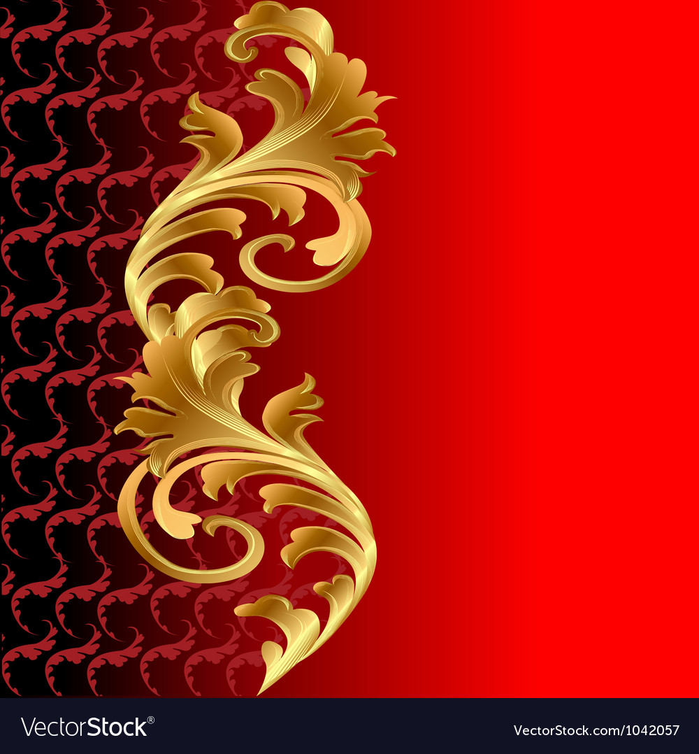 A red background with a gold floral ornament vector | Price: 1 Credit (USD $1)
