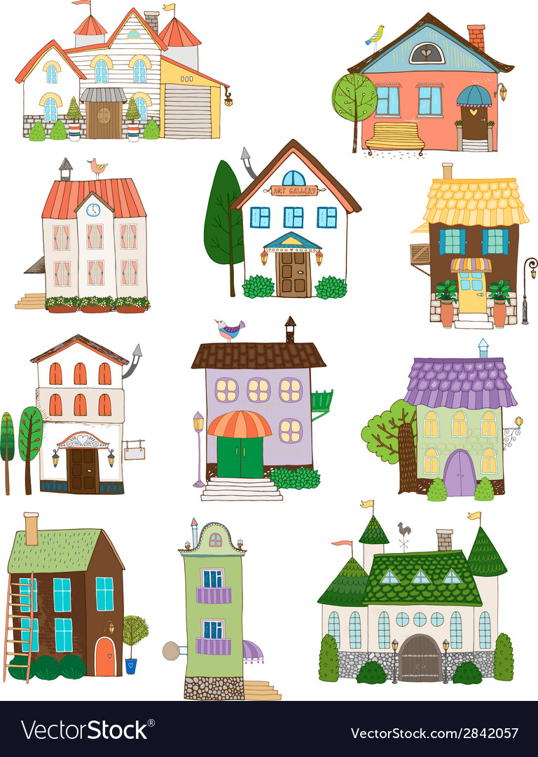 Assorted cute houses collection vector | Price: 1 Credit (USD $1)