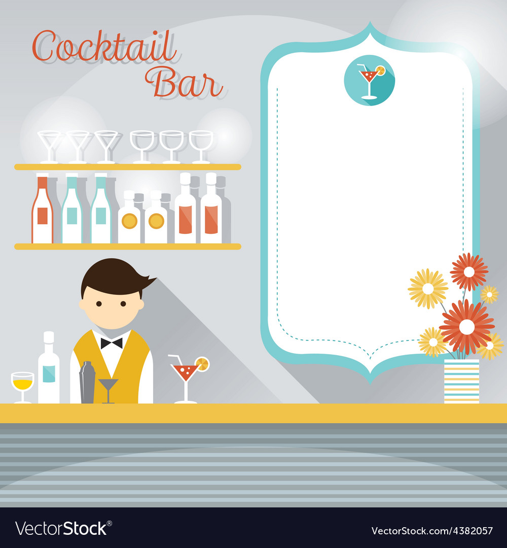 Bartender at counter cocktail bar with blank sign vector | Price: 1 Credit (USD $1)
