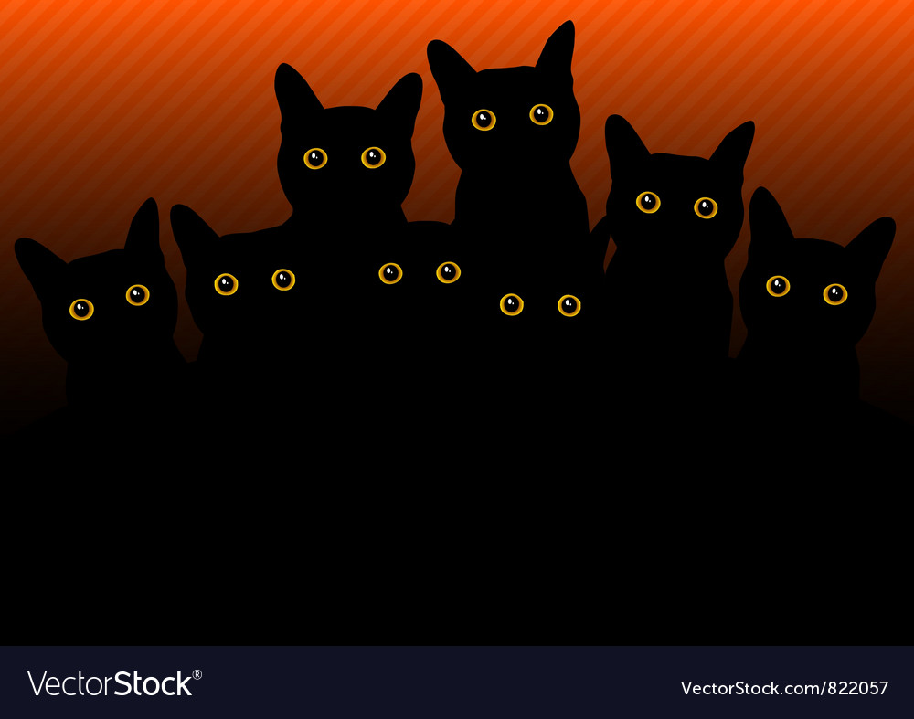 Cats in black orange vector | Price: 1 Credit (USD $1)