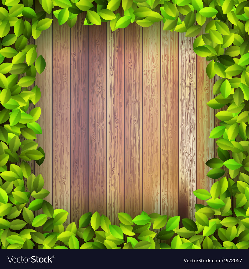 Fresh spring leaf plant over wood  eps10 vector | Price: 1 Credit (USD $1)