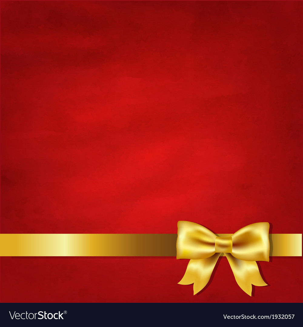 Gold satin bow and red vintage background vector | Price: 1 Credit (USD $1)