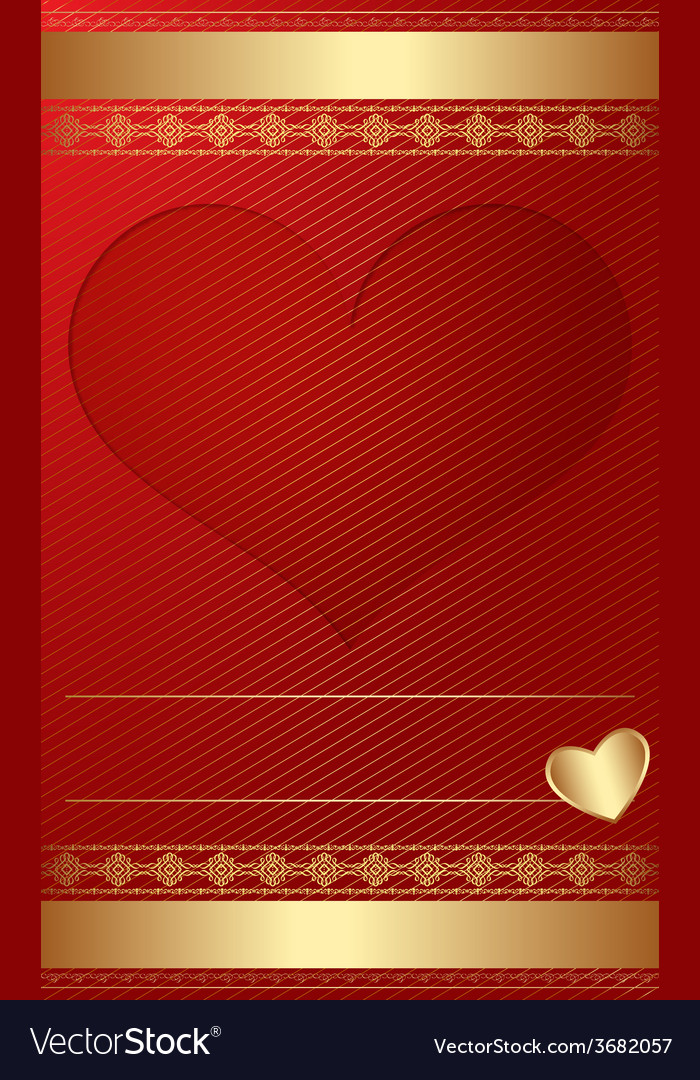 Golden vintage template with heart vector | Price: 1 Credit (USD $1)