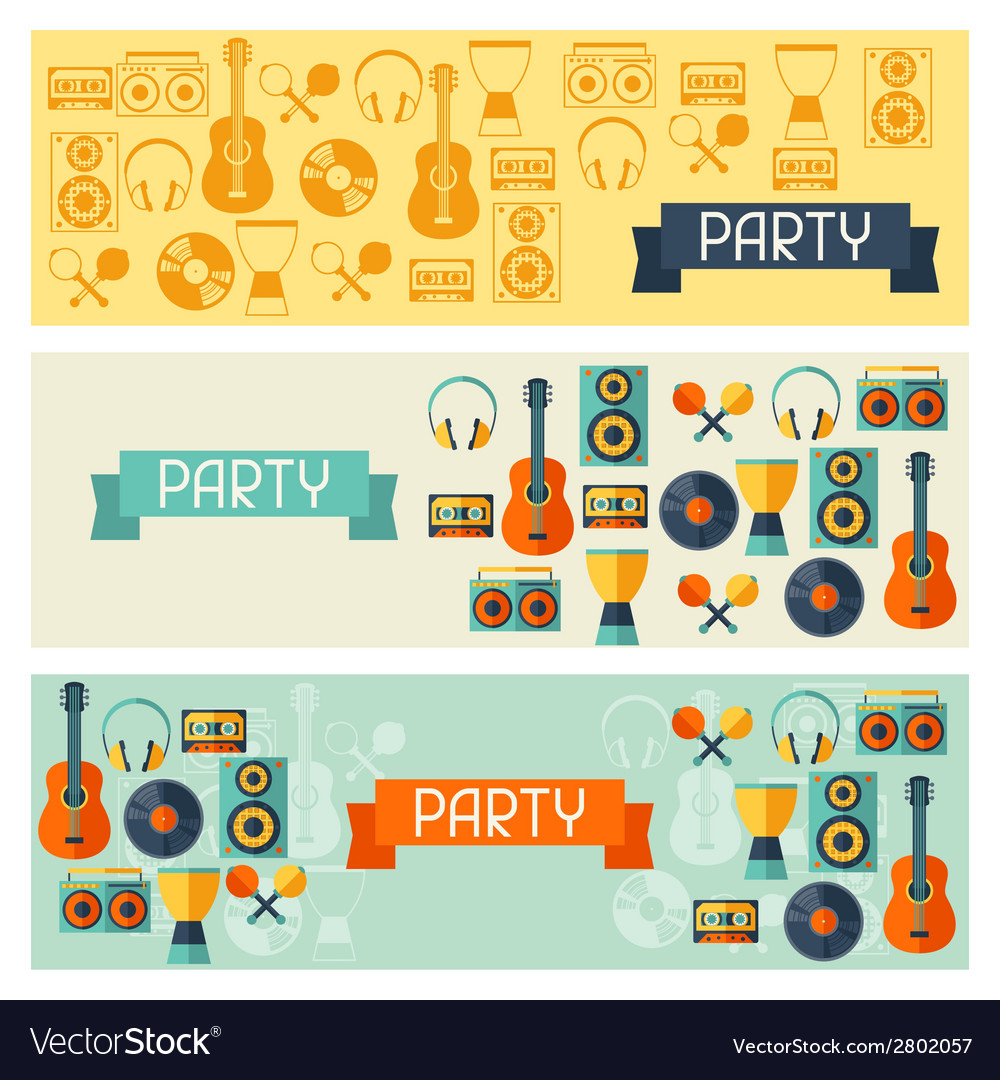 Horizontal banners with musical instruments in vector | Price: 1 Credit (USD $1)