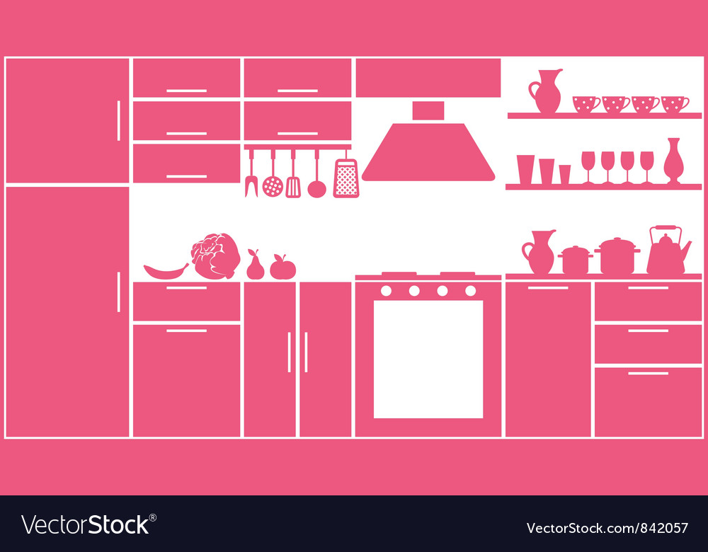 Pink kitchen silhouette vector | Price: 1 Credit (USD $1)