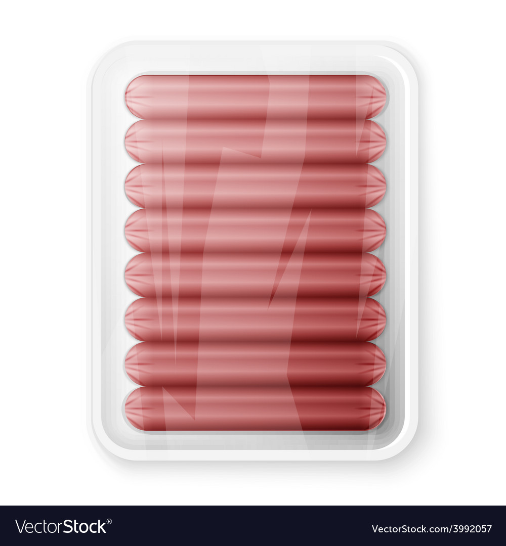Pork sausages in a plastic packaging tray vector | Price: 1 Credit (USD $1)