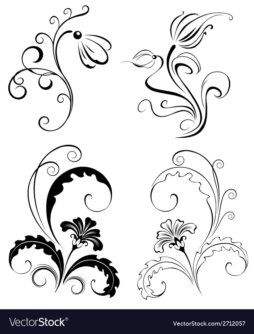 Set decorative flowers vector | Price: 1 Credit (USD $1)