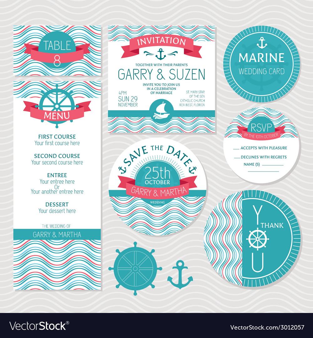 Set of marine wedding cards vector | Price: 1 Credit (USD $1)