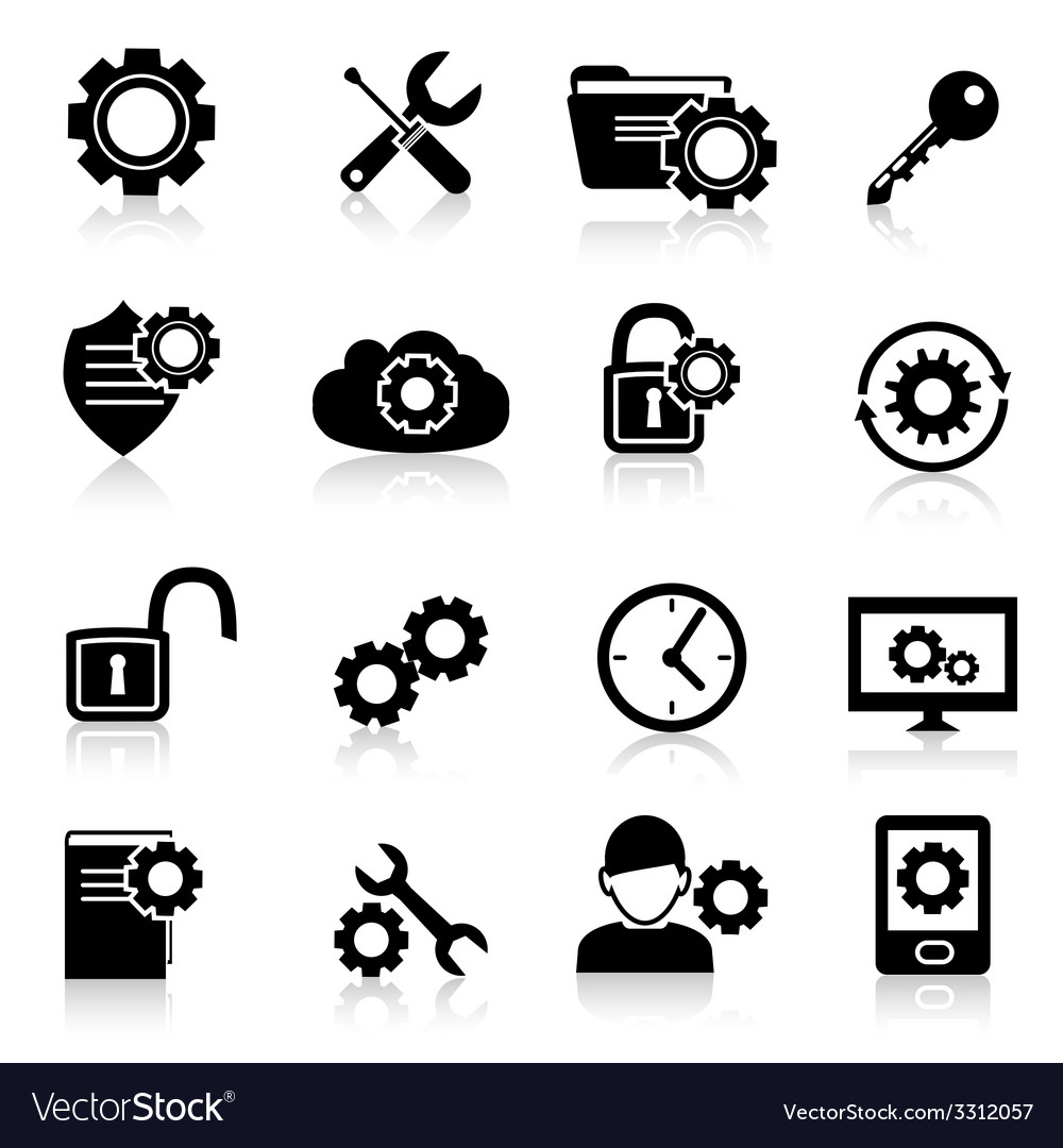 Settings icons black vector | Price: 1 Credit (USD $1)