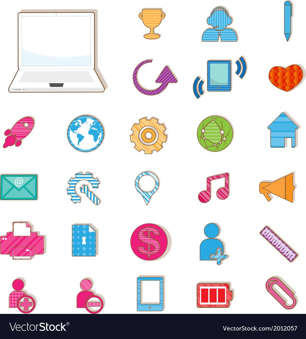 Social color media color icon network vector | Price: 1 Credit (USD $1)