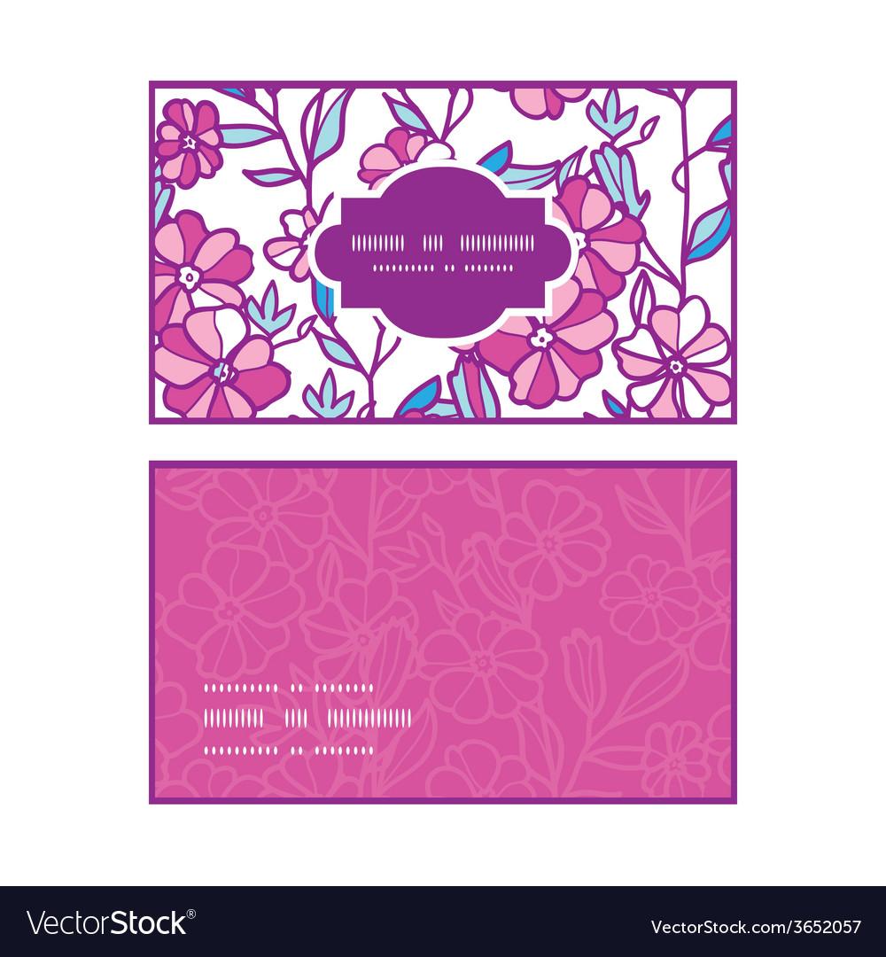 Vibrant field flowers horizontal frame pattern vector | Price: 1 Credit (USD $1)