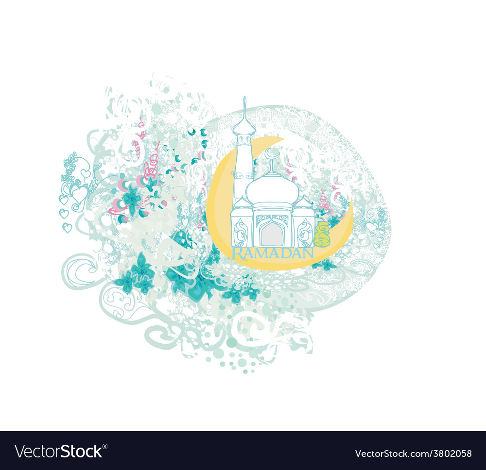 Artistic pattern background with moon and mosque vector | Price: 1 Credit (USD $1)