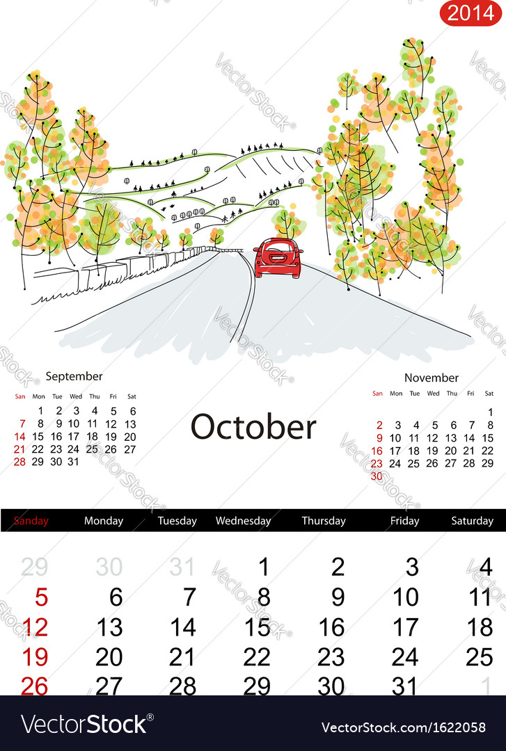 Calendar 2014 october streets of the city sketch vector | Price: 1 Credit (USD $1)