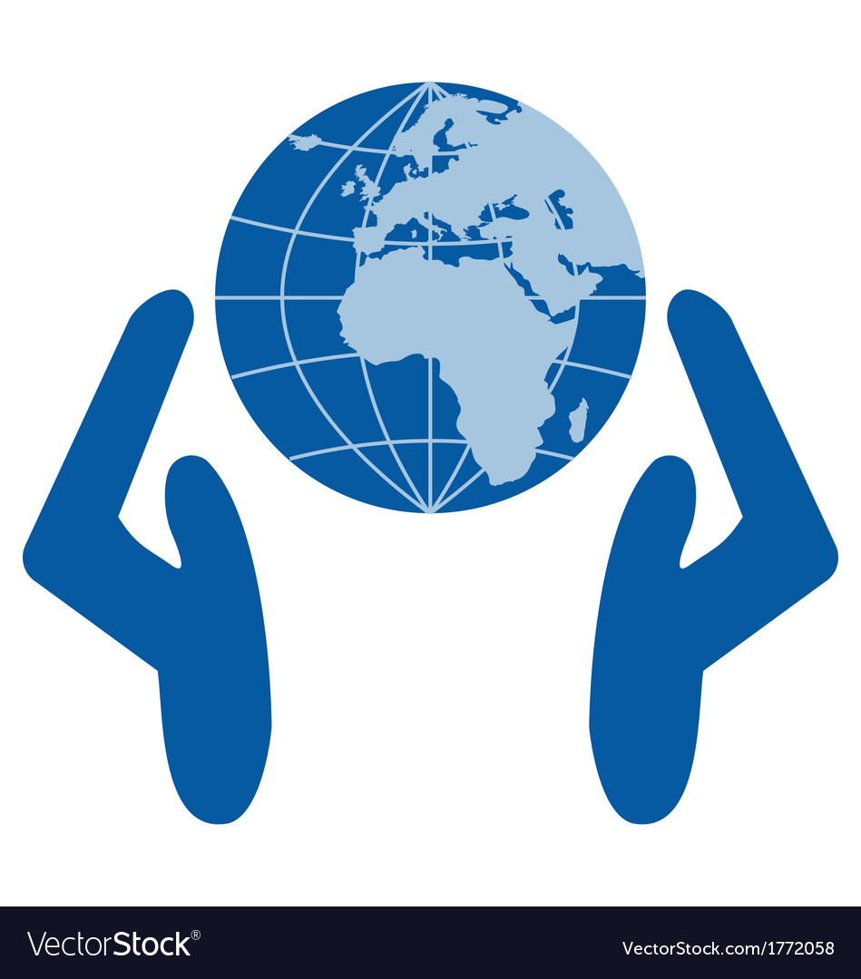 Caring for environment hands on globe vector | Price: 1 Credit (USD $1)