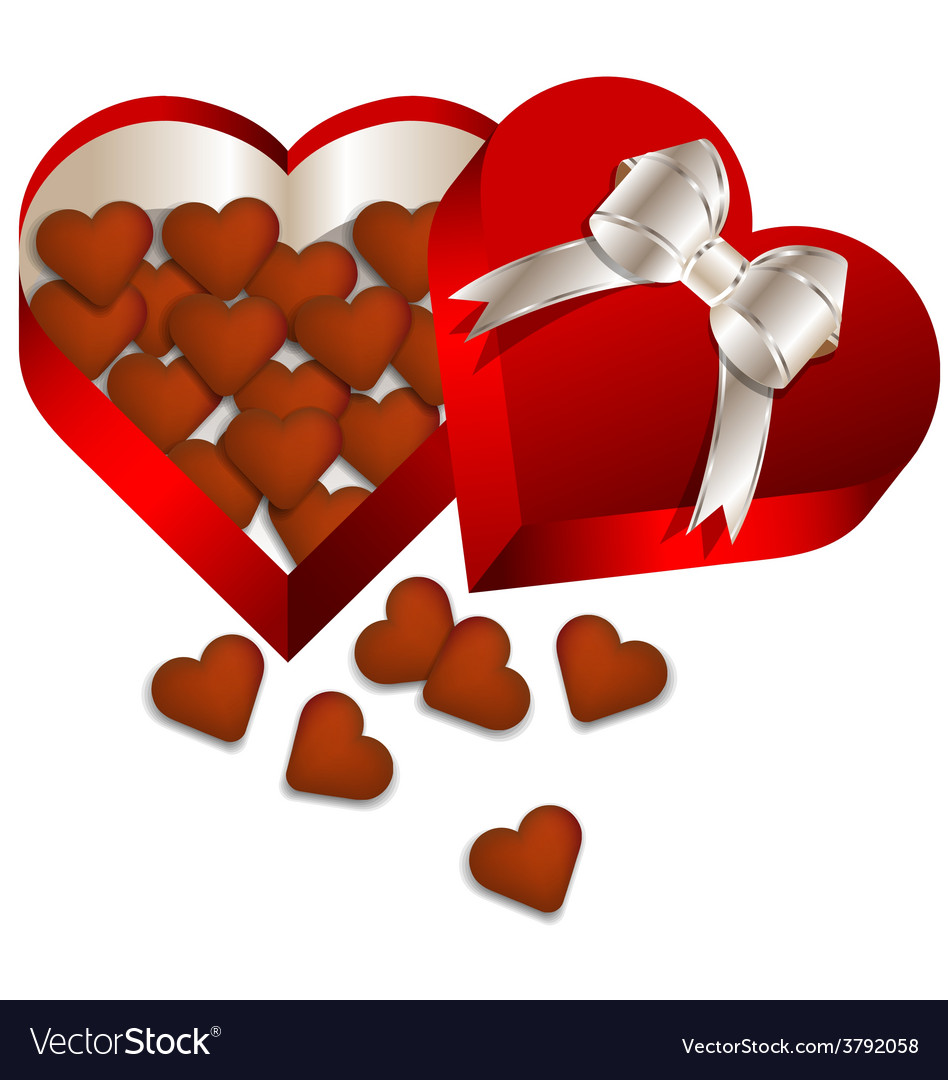 Chocolate valentines day in heart gift box vector | Price: 1 Credit (USD $1)