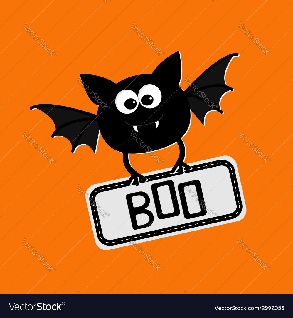 Cute bat with plate boo happy halloween card flat vector | Price: 1 Credit (USD $1)