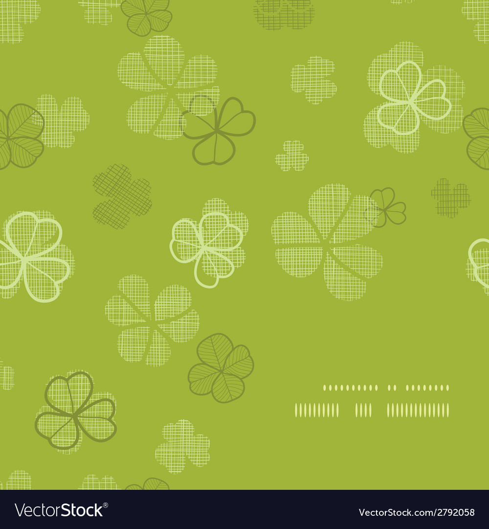 Green clover textile texture frame corner pattern vector | Price: 1 Credit (USD $1)