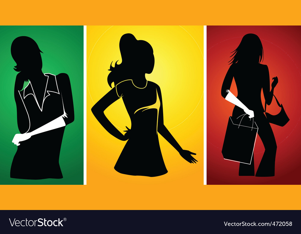 Ladies silhouette vector | Price: 1 Credit (USD $1)
