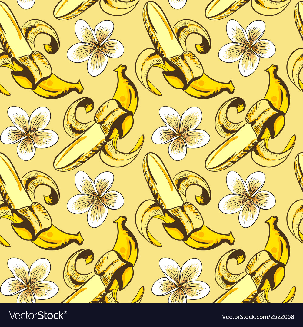 Seamless pattern with bananas vector | Price: 1 Credit (USD $1)