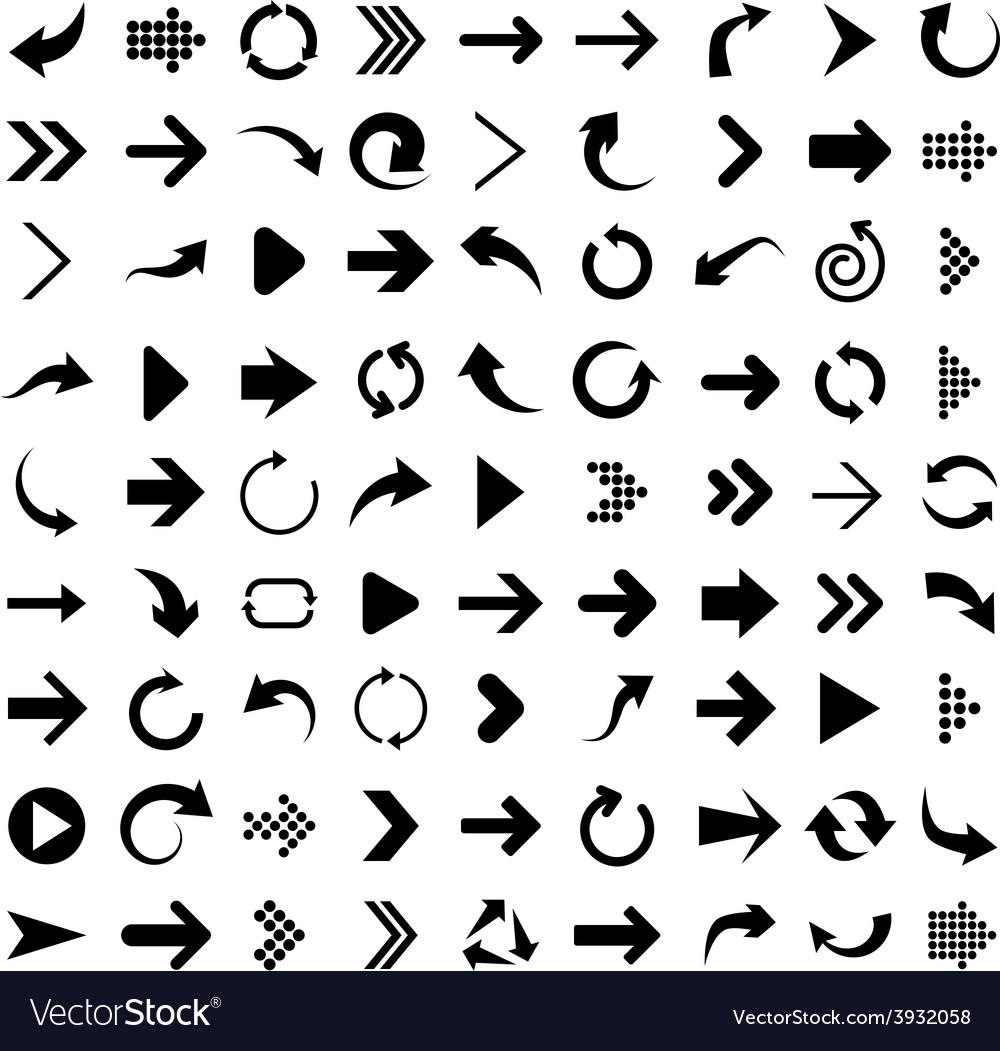 Set of arrow icons vector