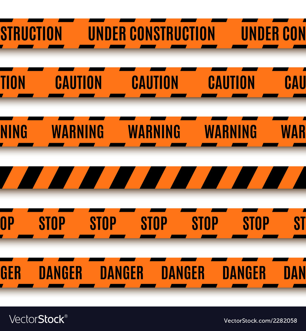Set of orange warning tapes vector | Price: 1 Credit (USD $1)