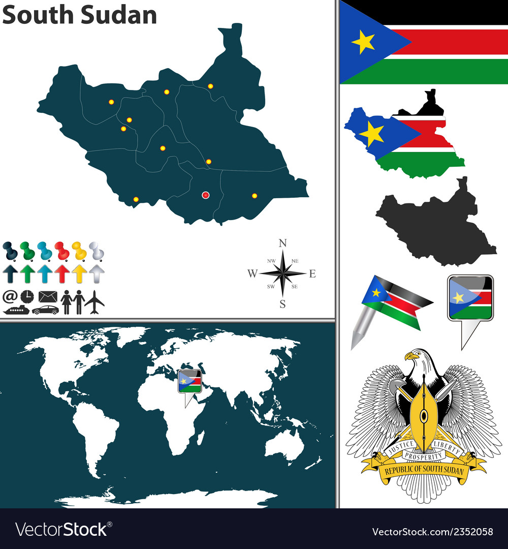 South sudan map world vector | Price: 1 Credit (USD $1)