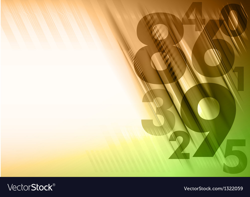Abstract numbers corner orange green vector | Price: 1 Credit (USD $1)