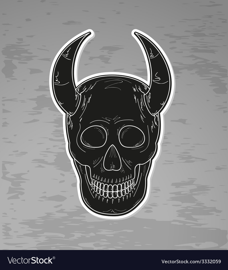 Black skull with horns vector | Price: 1 Credit (USD $1)