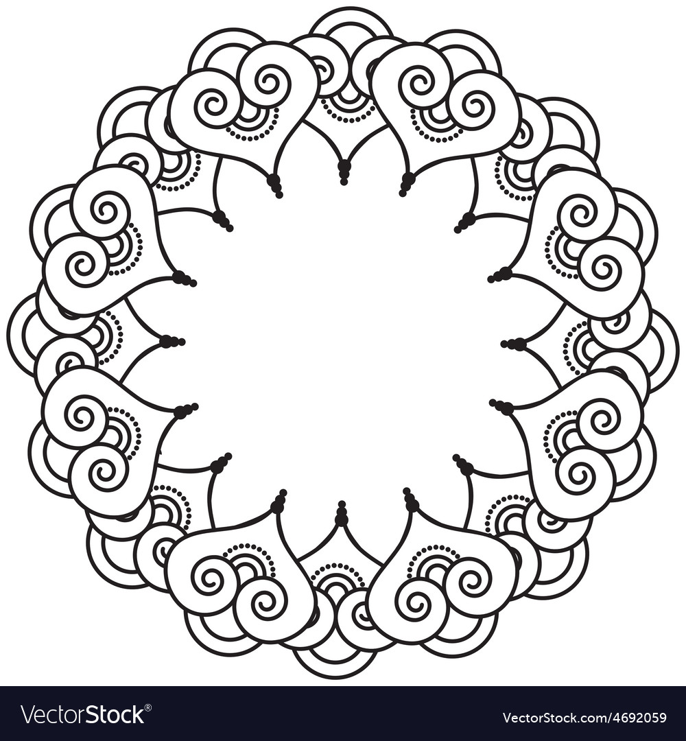 Indian henna tattoo inspired heart shapes wreath 3 vector | Price: 1 Credit (USD $1)