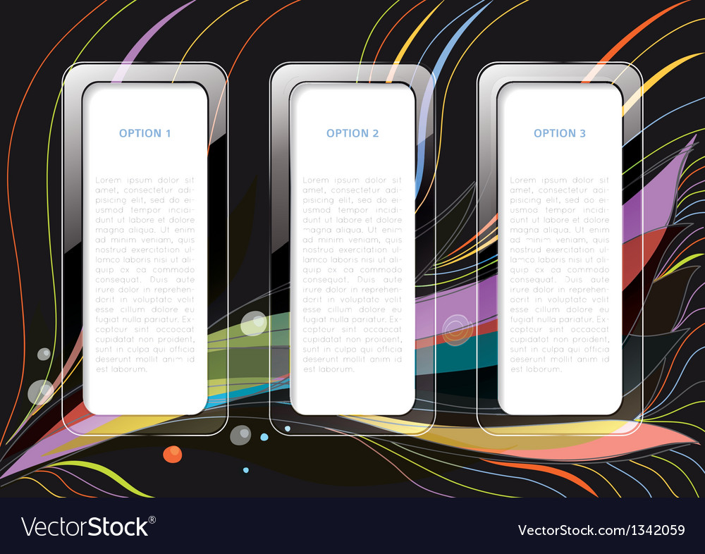 Infographics abstract with three text boxes vector | Price: 1 Credit (USD $1)