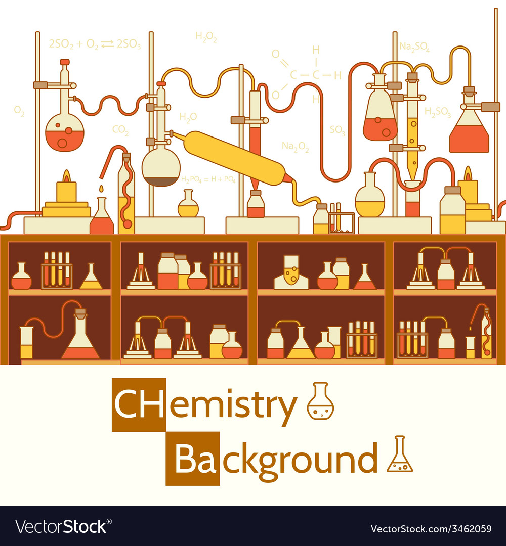Retro experiments in a chemistry laboratory vector | Price: 1 Credit (USD $1)