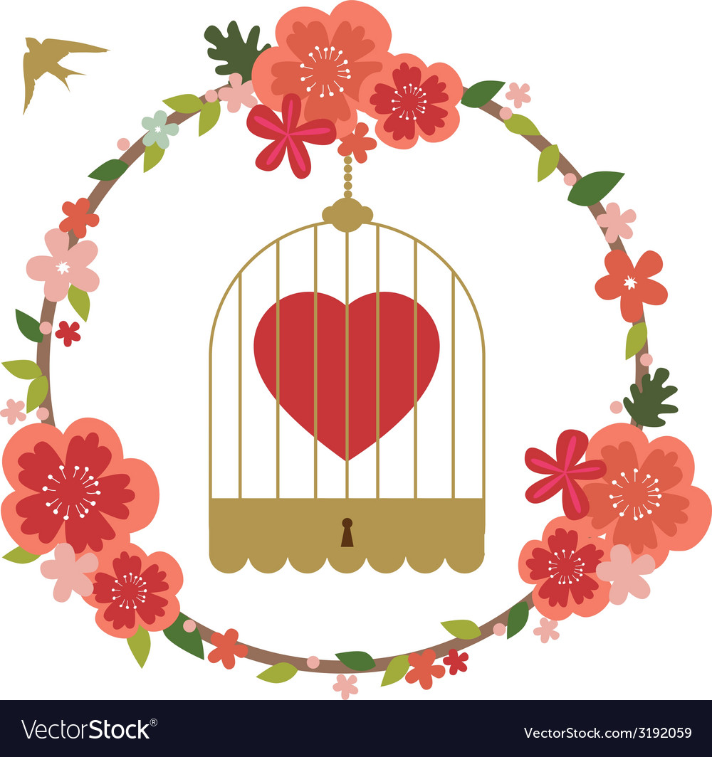 Romantic valentine design with birds cage vector | Price: 1 Credit (USD $1)