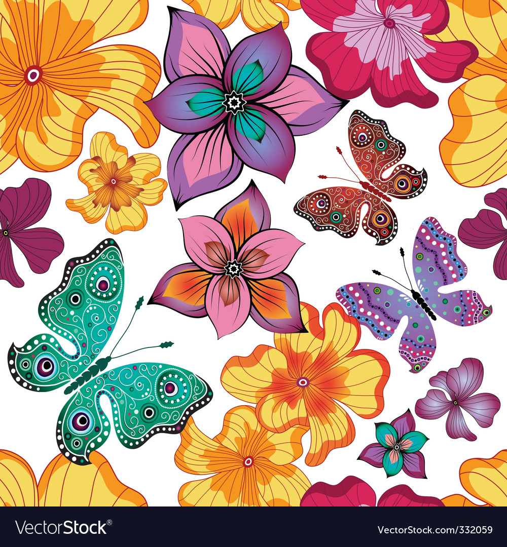 Spring repeating floral pattern vector | Price: 1 Credit (USD $1)